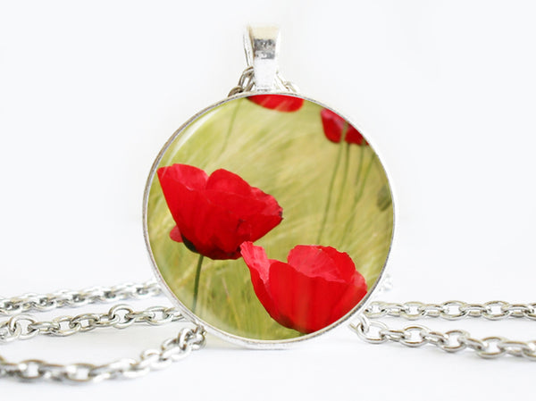 Red Poppy Flowers Necklace, Spring Flowers necklace,floral necklace, Floral Art Pendant, Poppy Flowers pendant, Poppy Flowers charm, flower charm, gift for women