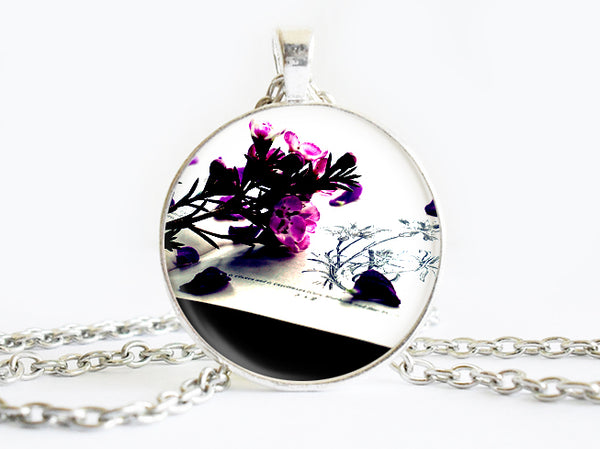 Purple Black Flowers Necklace, Spring Flowers necklace,floral necklace, Floral Art Pendant, Purple Black Flowers pendant, Purple Black Flowers charm, flower charm, gift for women