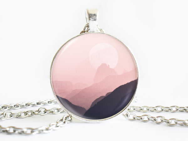 Hombre Purple Pink Mountains necklace, Mountains Pendant, Nature Photo Image necklace, Birthday Gift, Layered Purple Pink Charm, Gift for Women, Vacation Gift