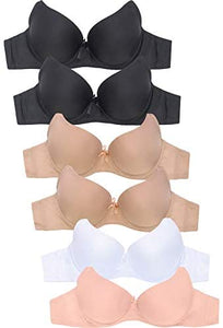 MaMia Women's Full Cup Push Up Lace Bras (Pack of 6)