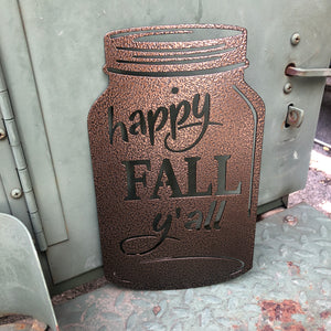 Happy Fall Y'all Mason Jar