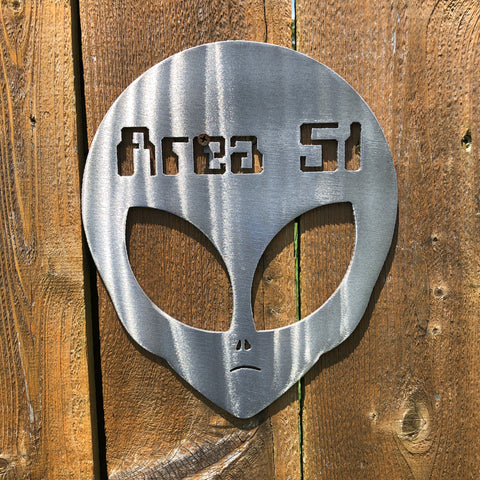 Area 51 Alien Head Signs Force Designs LLC Force Designs LLC birthday, fathers day, garage art, groomsman, man cave, metal art, metal sign