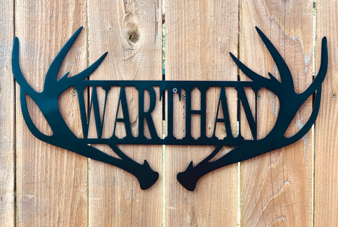 Personalized Antler Sign Signs Force Designs LLC Force Designs LLC