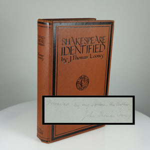 "Looney, J. Thomas. ""Shakespeare"" Identified (London, 1930) - First Edition of ""the Most Revolutionary Book in the History of Shakespeare Studies"""