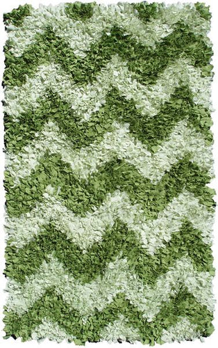 Shaggy Raggy Green Chevron Area Rug
