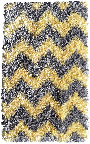 Shaggy Raggy Yellow/Gry Chevy Area Rug