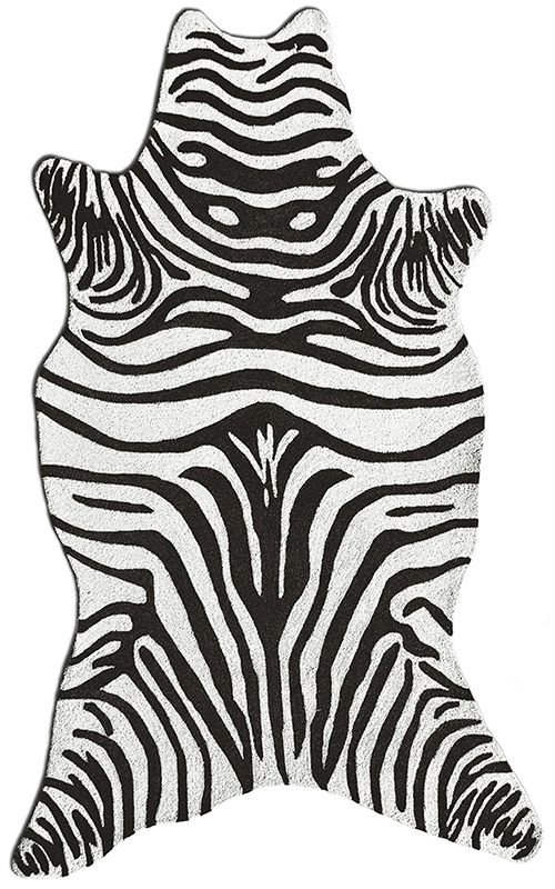 Zebra Black Shaped Area Rug