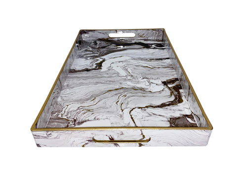 Faux White Marble Tray - Single
