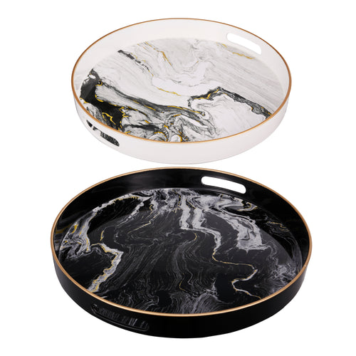 Quinn Trays Black-White (Set Of 2)