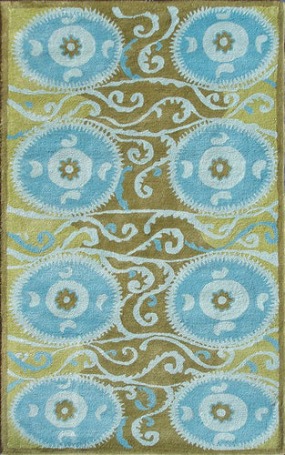 Suzani Tile Blue Area Rug