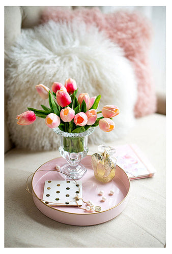Pink Round Décorative Tray