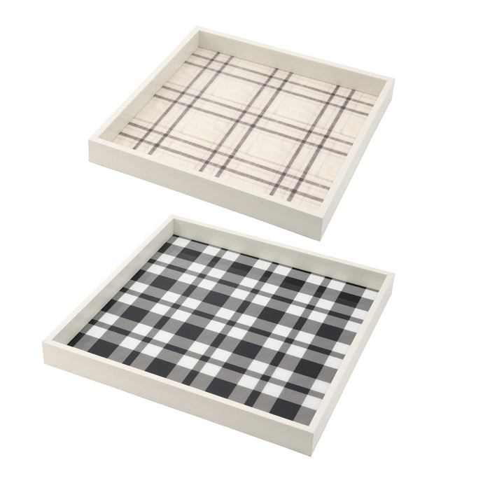 Plaid White Decorative Tray (Set of 2)