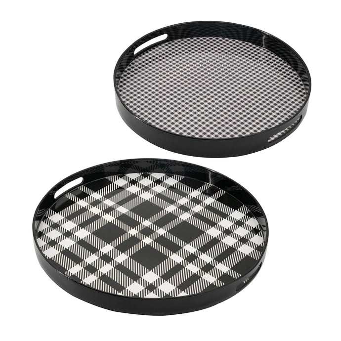 Plaid Black Decorative Tray (Set of 2)