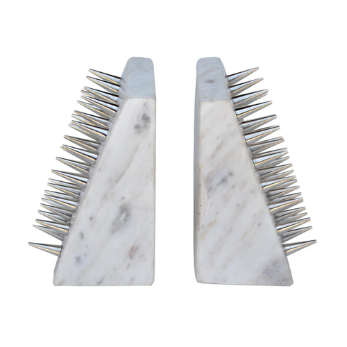 England Spike Bookends, White & Silver