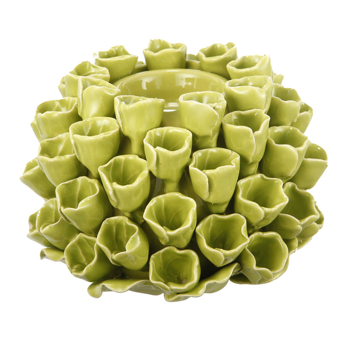 Open Coral Candle Holder -Lime