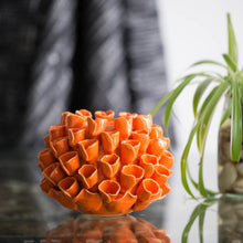 Open Coral Candle Holder - Orange
