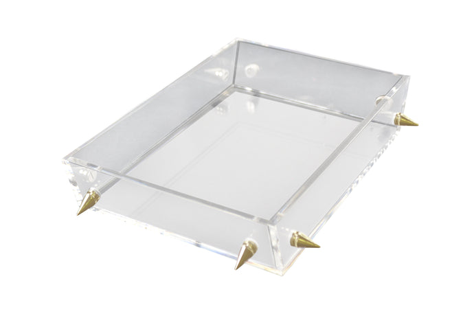 Lucite Large Gold Stud Tray
