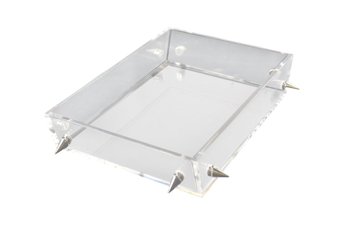 Lucite Small Silver Stud Tray