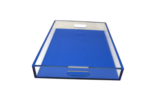 Blue Square Lucite Tray