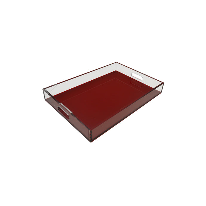 Red Sq Lucite Tray