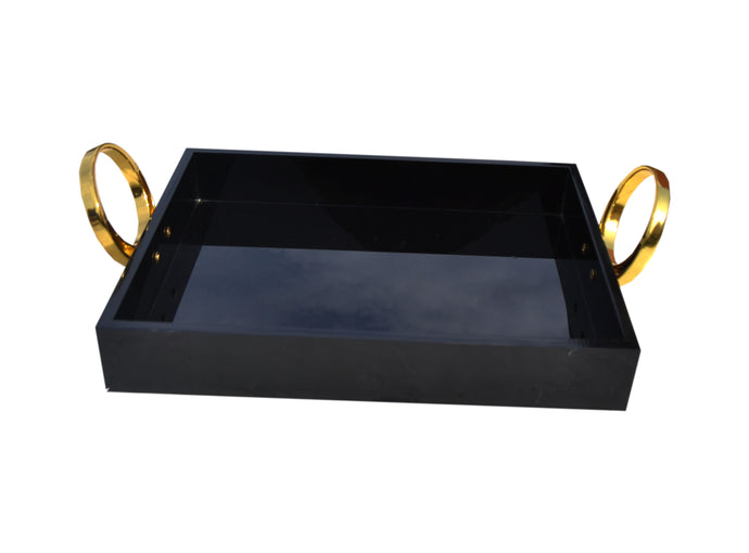 Lrg Blk/Gold Tray With Rings