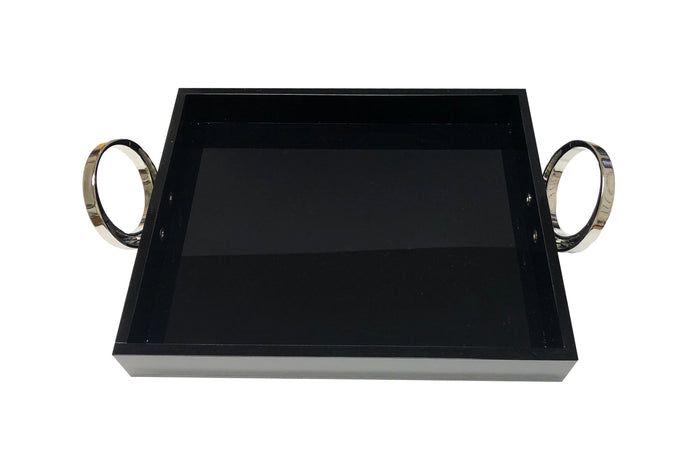 Sm Blk Tray With Silver Ring