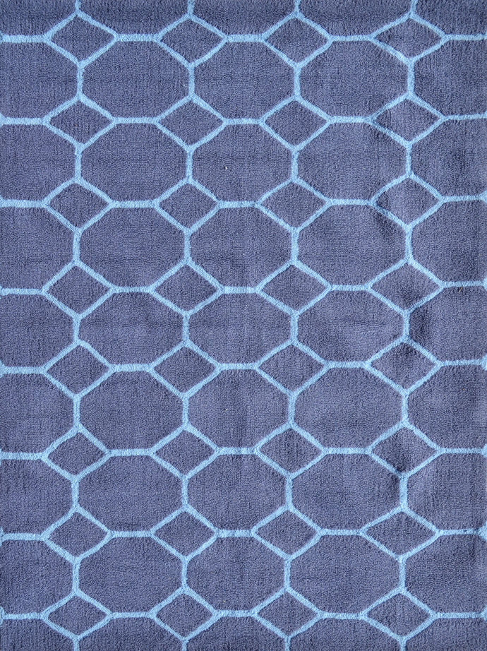 Honeycomb Blue Size 5X7 Area Rug