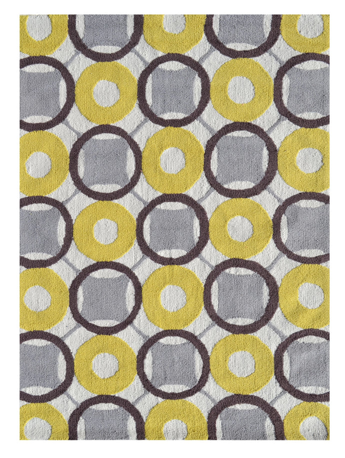 Rounders Yellow Size 5X7 Area Rug