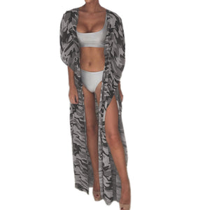 2017 Sexy Women Camouflage Split Cover-up Swimwear Loose Beach Long Tops Coat Cardigan