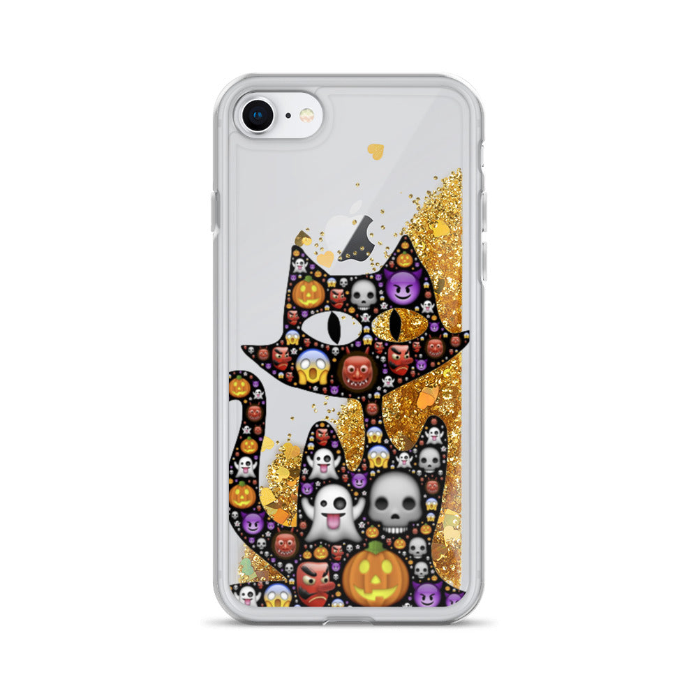 Emoji Cat Halloween Liquid Glitter iPhone 7 / 8 Case
