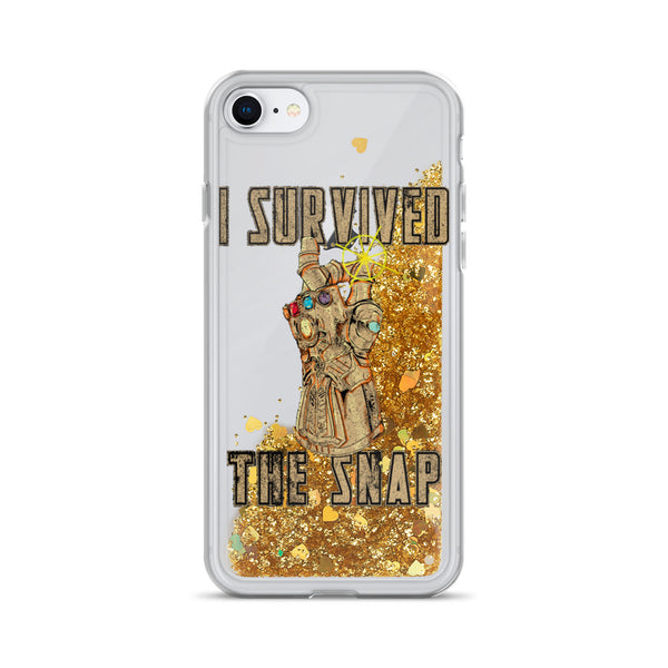 Survived The Snap Avengers Liquid Glitter iPhone Case