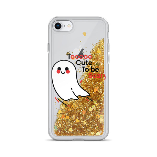 Too Cute to be Scary Ghost Liquid Glitter iPhone Case