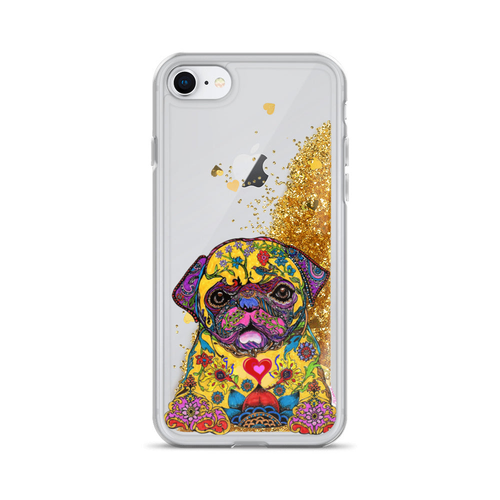 Psychedelic Pug Liquid Glitter iPhone Case