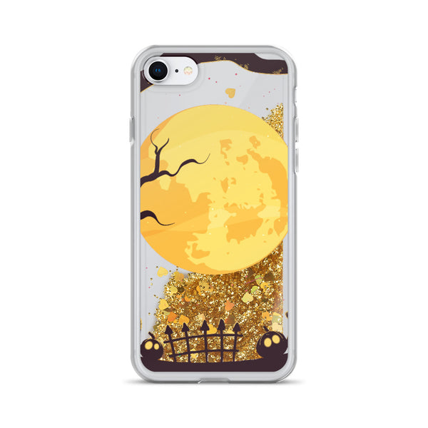 Halloween Moonlight Liquid Glitter iPhone Case