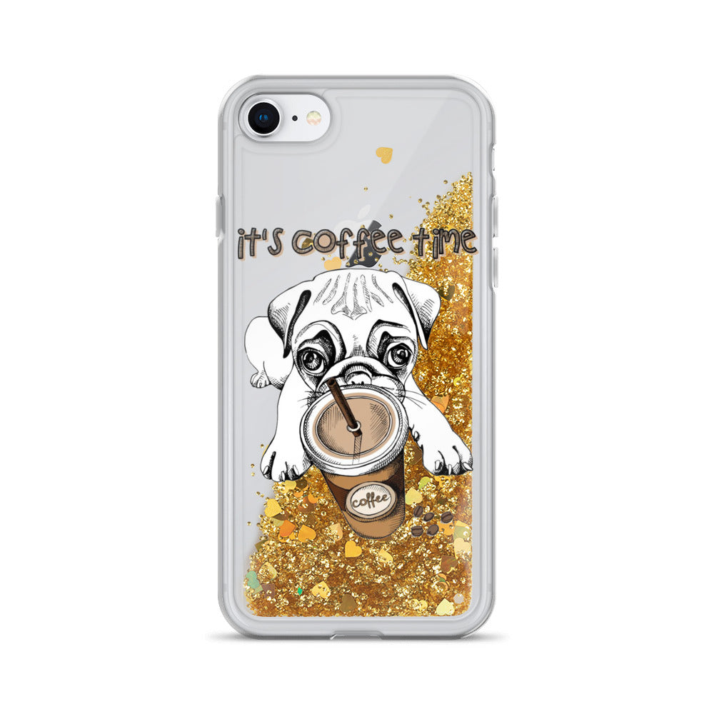 It's coffee time pug Liquid Glitter iPhone Case