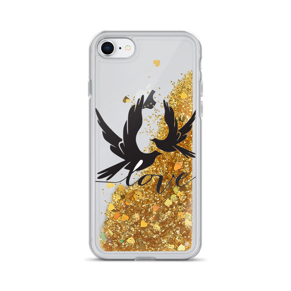 Two Birds in Love Liquid Glitter iPhone Case