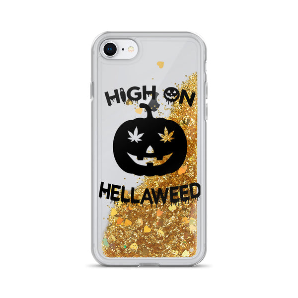 High on HellaWeed Liquid Glitter iPhone Case