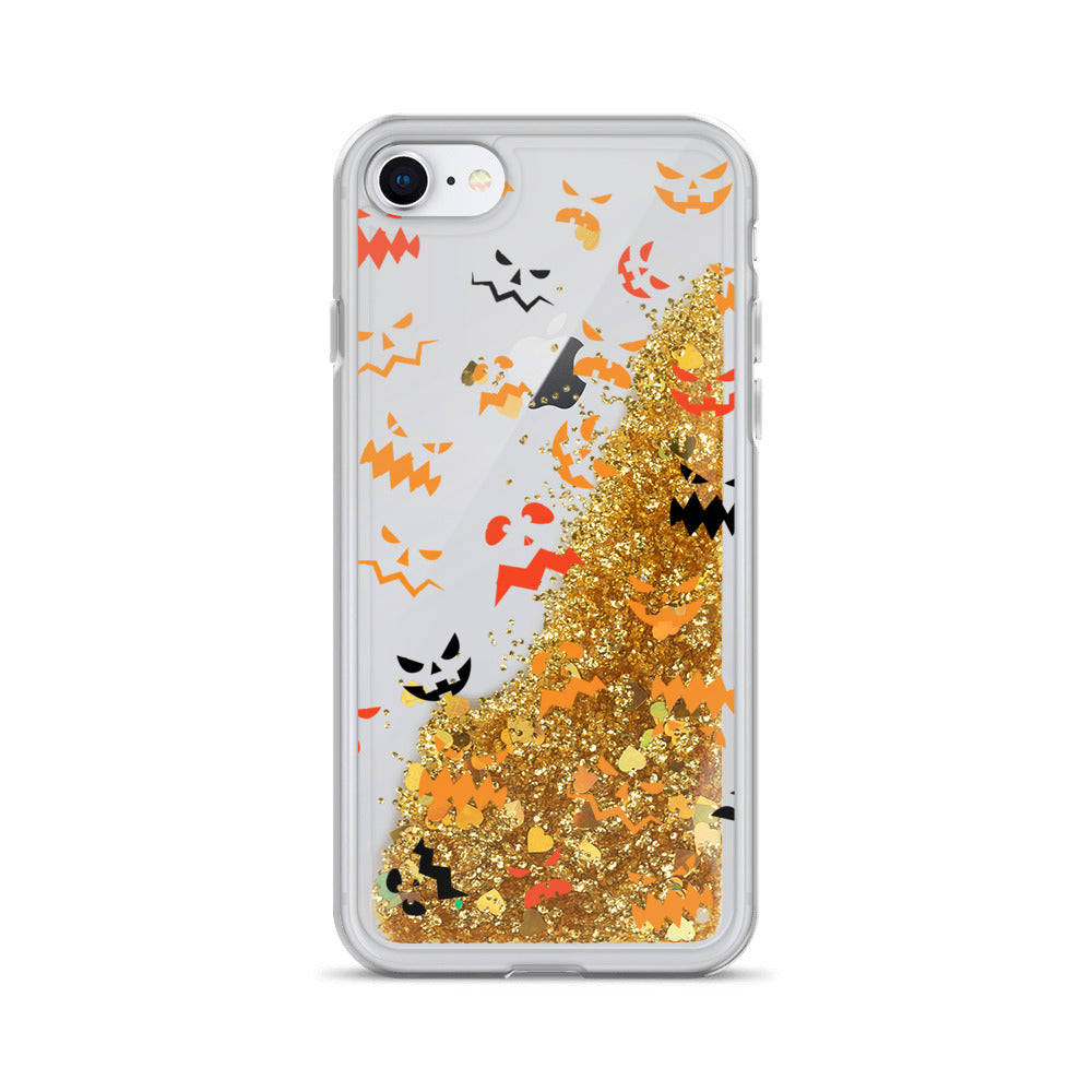 Pumpkin Faces Pattern Liquid Glitter iPhone Case