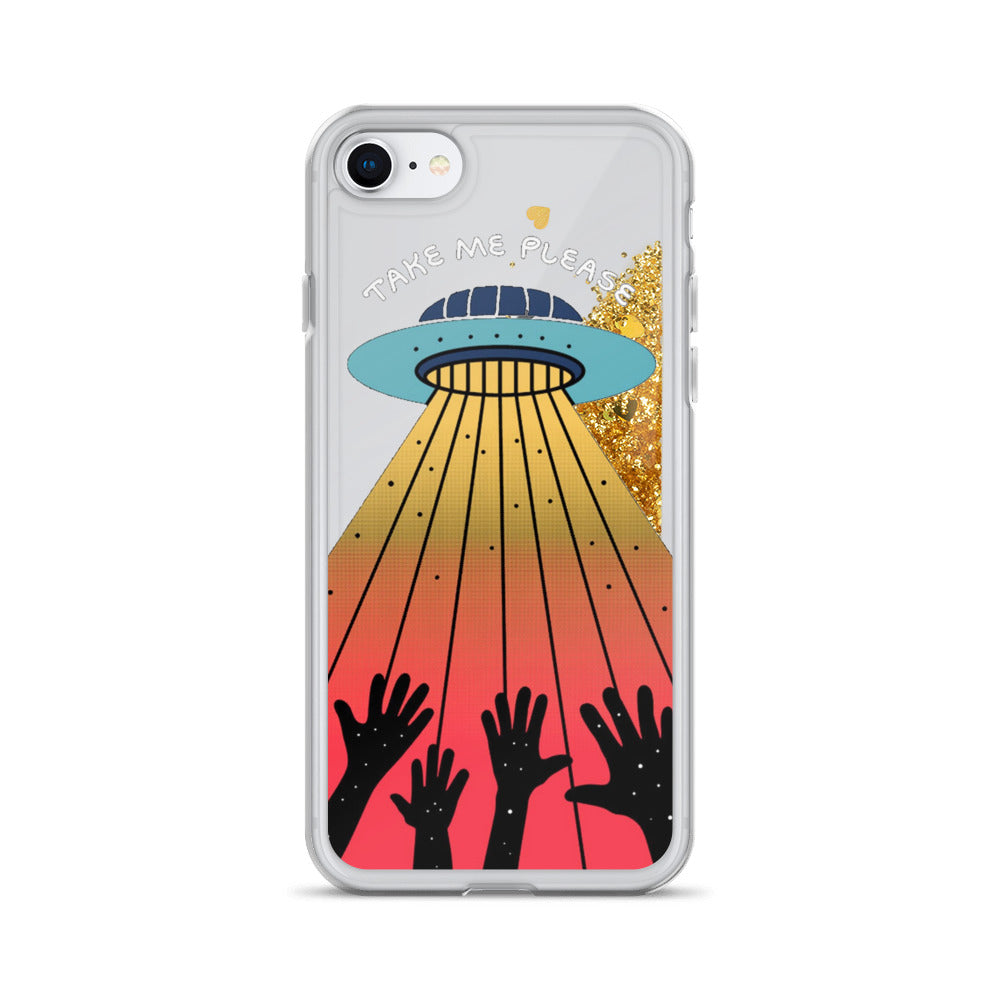 Take Me Please Alien Saucer Liquid Glitter iPhone Case
