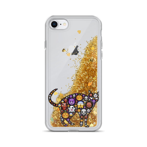 Emoji Pussy Halloween Liquid Glitter iPhone 7 / 8 Case