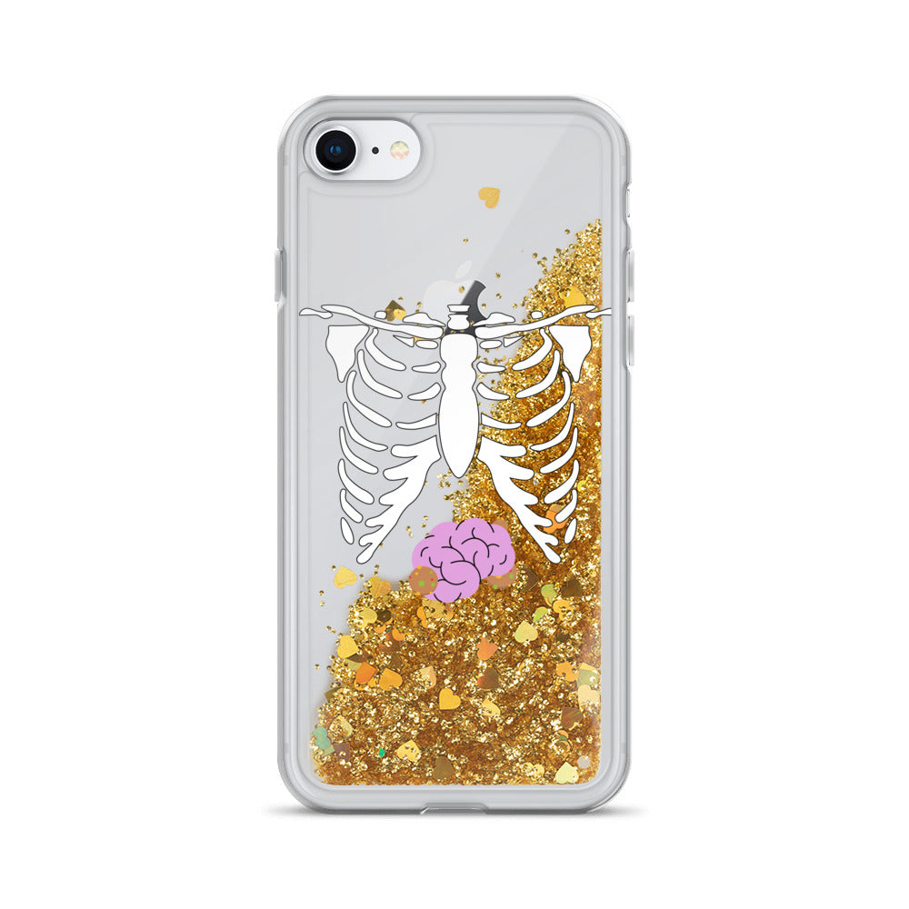 Skeleton Chest & Brains Liquid Glitter iPhone Case