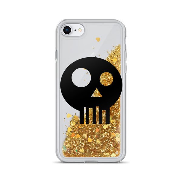 Skull Spray Liquid Glitter iPhone Case
