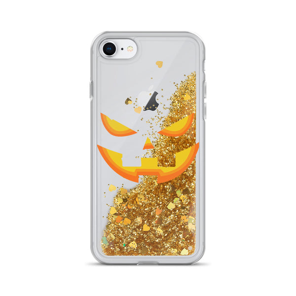 Pumpkin Face Liquid Glitter iPhone 11 Case & older