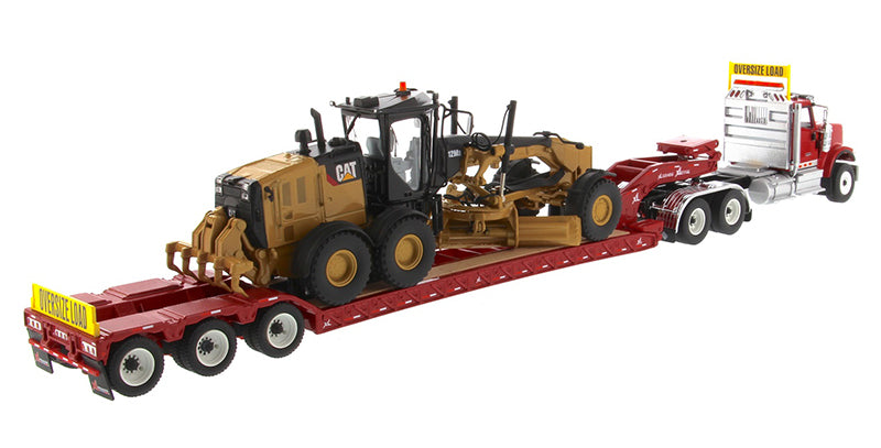 1:50 International HX520 Tandem Tractor + XL 120 Trailer, Red w/ Cat 12M3 Motor Grader loaded including both rear boosters