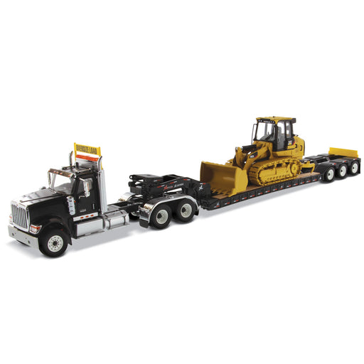 1:50 International HX520 Tandem Tractor + XL 120 Trailer, Black w/ Cat® 963K Track loader loaded including both rear boosters