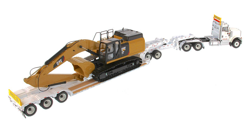 1:50 International HX520 Tandem Tractor + XL 120 Trailer outriggers, White w/ Cat®349F L XE Hydraulic Excavator loaded including both rear boosters and front jeep