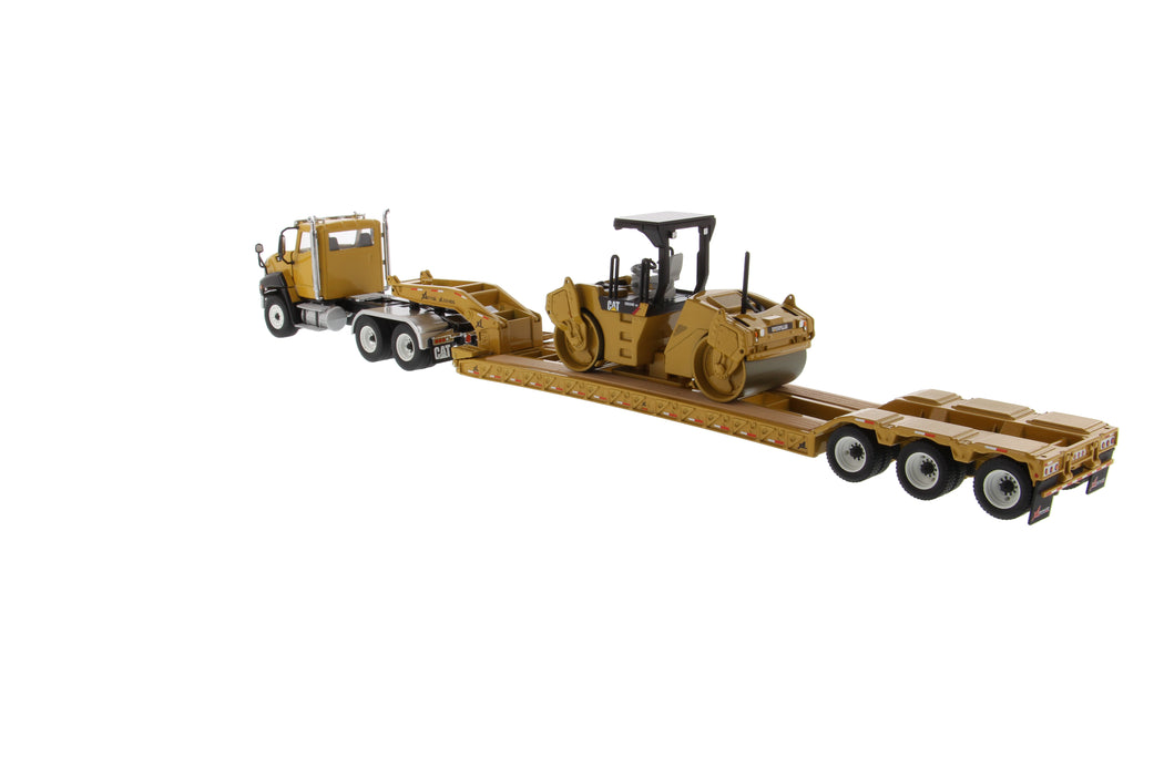 1:50 Cat CT660 Day Cab Tractor & XL120 Low-Profile HDG Trailer with Cat CB-534D XW Vibratory Asphalt Compactor