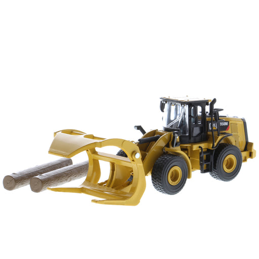 1:64 Cat 950M Wheel Loader with Log Fork + Bucket Attachment (Comes with 2 Log Poles)