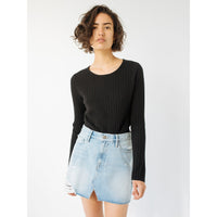 LE MINI SKIRT SPLIT FRNT - DENIM