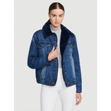 NAVY FAUX FUR LINED JACKET